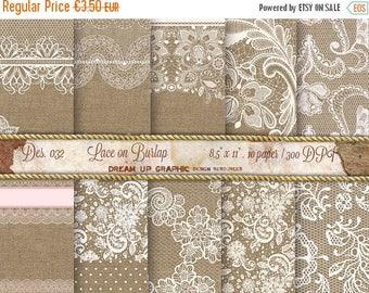 40% Lace on Burlap Digital Paper: Lace Burlap Wedding Invitation, Rustic Wedding Decor, Burlap Wedding Decorations, Lace Paper,  Des 032