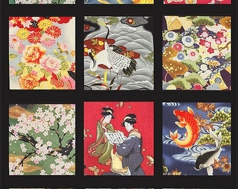 Kona Bay Japanese Asian Quilting Fabric - Good Fortune Asian Sampler PANEL