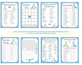Blue Giraffe Baby Shower Game Package, Blue Gray Baby Game, Printable Giraffe Games, DIY Blue Giraffe Baby Games - Printables 4 Less