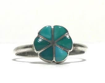 Sterling Silver Flower Turquoise Ring Pie Divided Size 7