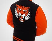 The Tiger Varsity Jacket  Neon Orange & Black King College Letterman Coat Baseball Top American Fashion Clothing Womens Mens Outfit Electric