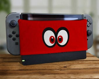 Switch Dock Sock Cartoon Eyes Video Game Screen Protector Cozy Tablet Protection Soft Plush Docking Cover Pixel Housing Joy Retro Gaming