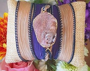 Chalcedony druzy silk handpainted wrapbracelet