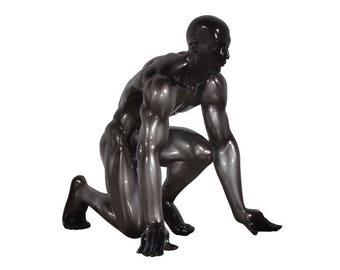 Man's big statue athlete, black color, for decoration, height 11 inches / 28 cm
