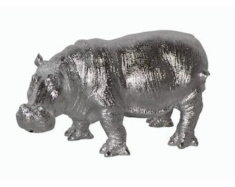 Art Deco ! Resin hippopotamus statue, for decoration, length 19,6 inches