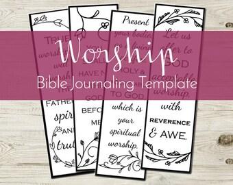 Bible Journaling Template - Worship - Bible Journaling - Easy to Trace
