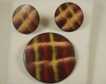 Minimalist Enamel on Copper Pin and Earring Set