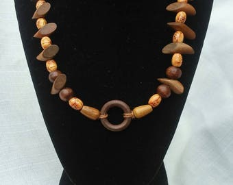 Wood, bead, necklace, handmade,