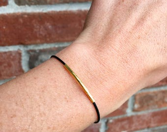 Thin Leather Bracelet, Gold Bar Bracelet, Minimalist Jewelry, Thin Bracelet, Black Bracelet, Stacking Bracelet, Bar Bracelet, Bar Jewelry