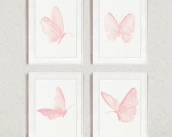 Butterfly Watercolor Painting set 4 Butterflies Nursery Baby Girl Room Decoration, Blush Pink Kids Wall Decor Minimalist Children Poster