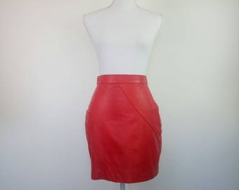 80s Red Leather Mini Skirt XS