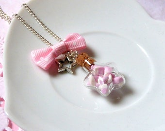 Small vial star necklace filled with marshmallows