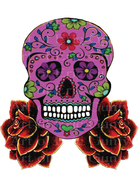 Pink Sugar Skull & Roses Halloween Birthday - Edible Cake and Cupcake Topper For Birthday's and Parties! - D22656