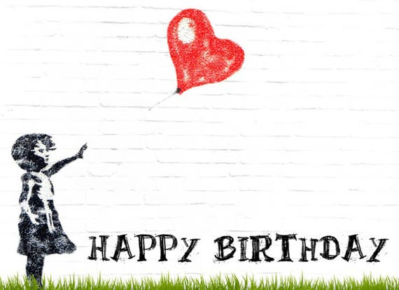 Artist Girl With Heart Balloon Birthday - Edible Cake and Cupcake Topper For Birthday's and Parties! - D22828