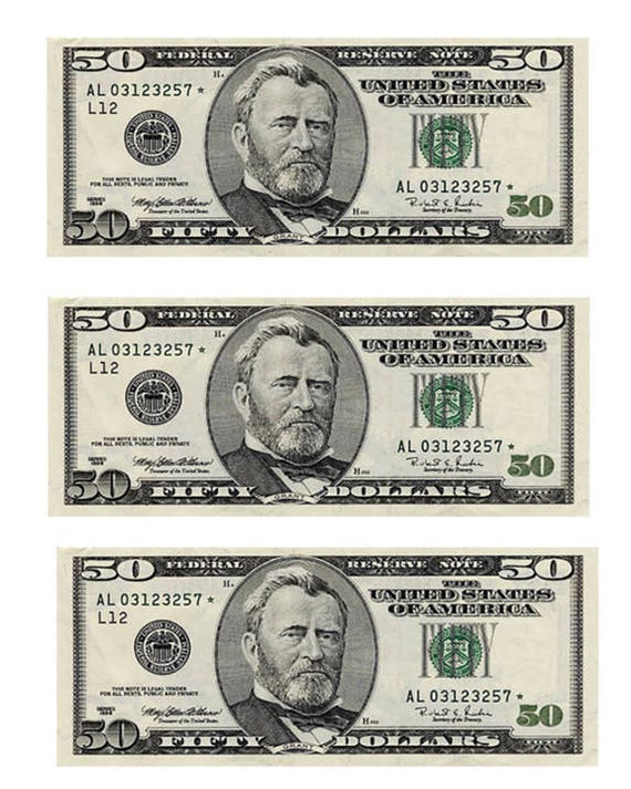 50 Dollar Bills Casino Birthday - Edible Cake and Cupcake Topper For Birthday's and Parties! - D22975