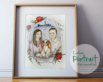 """9""""X12"""" CUSTOM portrait, familly portrait, made to order. Watercolor illustration of your chidren, familly, animals or couple."""