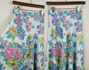 1980s vintage floral skirt xs extra small