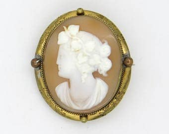 AntiqueCarved Shell Cameo Brooch - Hebe Goddess Portrait  Cameo - Gold Filled Brooch - 1900s Edwardian / Victorian  Jewellery