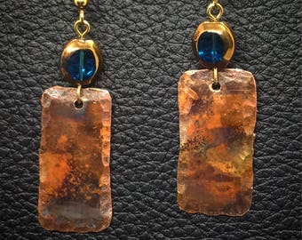 Hammered Copper Earrings with antique beads