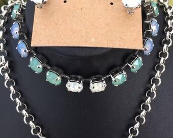Swarovski Crystal Opal Jewelry Set- Necklace, Bracelet and Earrings