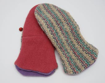 Upcycled Felted Cashmere and Wool Mittens Women's Average Small Medium Pink Teal Cream Striped