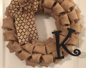 CPM Black Initial Letter K Burlap Wreath w/ Black Medallion Bow