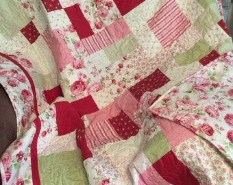 Shabby chic pink floral quilt