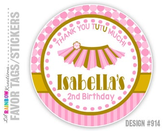 FVTAGS-914: DIY - Pink and Gold Tutu Favor Tags Or Stickers