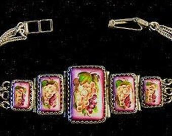 Grapes Bracelet Russian Enamel Jewelry