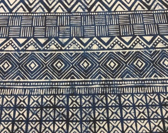 Blue and White Mud Cloth Print Upholstery fabric sold per yard, mud cloth print accent Pillow fabric, Indoor Decor fabric