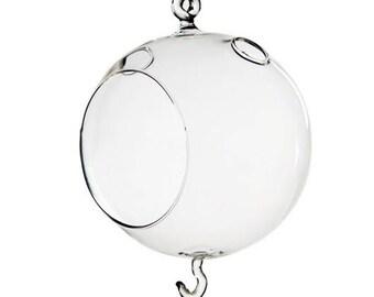 6 Pack - Double Hook Hanging Terrarium Glass - 4.5 Inch Diamter - Handblown Glass - Fast FREE Shipping - 30 Day Guarantee