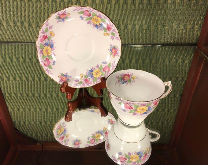 Colclough Floral Tea Cup and Saucer, bone china, England