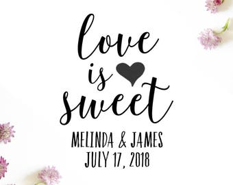 """Love is Sweet Wedding Stamp, Save the Date Wedding Stamp, Wedding Favor, Thank You Wedding Stamp, Wedding Stationery, Love, 1.5""""x2"""" (cts141)"""