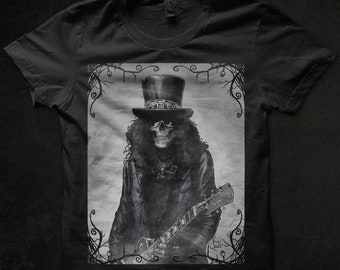 Gothic guitarist t-shirt, graphic DTG print t-shirt, slash skull t-shirt, gothic art t-shirt, guns'n'roses t-shirt, heavy metal, hard rock