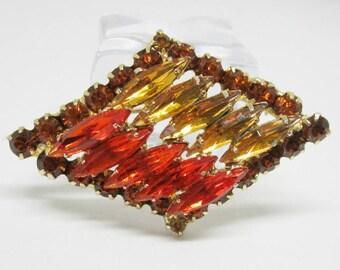 "Vintage Rhinestone Jewelry -  ""Juliana"" Brooch Pin - Verified - Delizza & Elster - Orange and Gold"