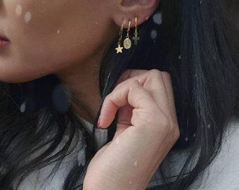 Mini brass hoop earrings with pendants