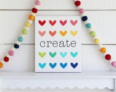 create with rainbow hearts 9x11 inches
