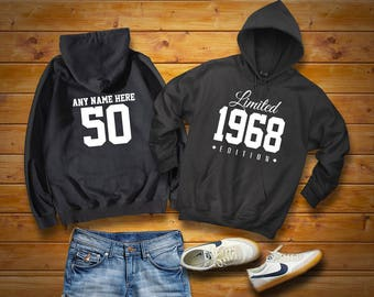 1968 Limited Edition Birthday Hoodie 50th Custom Name Celebration Gift mens womens ladies hooded sweatshirt sweater Unisex Personalized