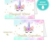 Magical Unicorn Food Cards, Place Cards, Buffet Labels, Unicorn Party Decor, Unicorn Favors, Buffet Table - Instant Download