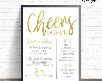 Cheers Gold Custom Bar Menu Sign