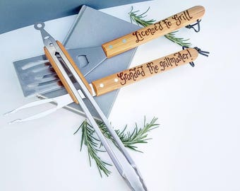 Personalised Barbecue BBQ Set | Etched Barbecue Tools | King of the Grill tool set | Grillmaster Tongs | Gift for Husband | Custom BBQ Tools