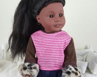18 inch doll pink sweater | striped shirt |