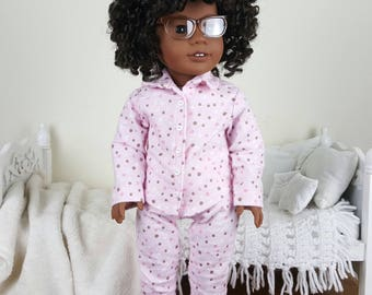 18 inch doll pajamas | pink flannel pajama shirt & pants