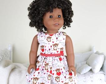 "18 inch doll valentine dress | ""hugs & kisses"" dress"