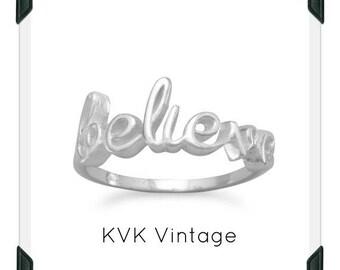 "Polished Script ""BELIEVE"" Ring"