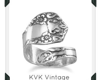 Oxidized Floral Spoon Ring