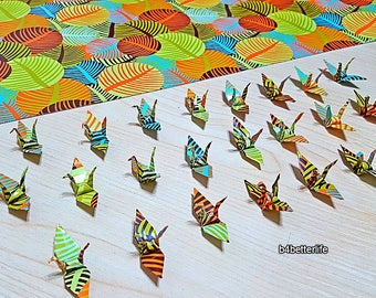 """Lot of 100pcs 1.5"""" """"LEAVES"""" Origami Cranes Hand-folded From 1.5""""x1.5"""" Paper. (WR paper series). #FC15-80."""