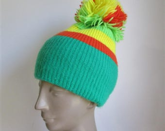 Vintage 70's ARIS knit ski hat with huge pom pom top