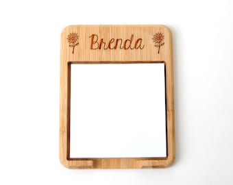 Personalized Floral Wood Post It Note Holder - Custom Teacher Gift