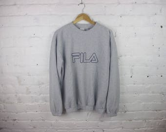 90s FILA Sweatshirt vintage grey gray long sleeve